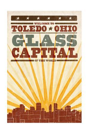 Toledo, Ohio - Skyline and Sunburst Screenprint Style by Lantern Press