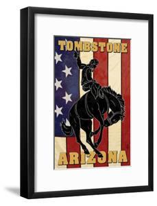 Tombstone, Arizona - Bronco Bucking and Flag by Lantern Press