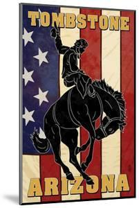 Tombstone, Arizona - Bronco Bucking and Flag by Lantern Press