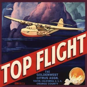 Top Flight Brand - Tustin, California - Citrus Crate Label by Lantern Press