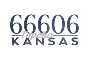 Topeka, Kansas - 66606 Zip Code (Blue) by Lantern Press
