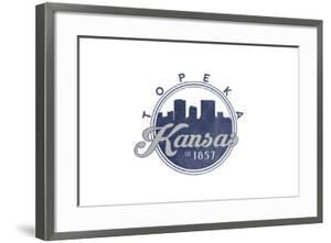 Topeka, Kansas - Skyline Seal (Blue) by Lantern Press