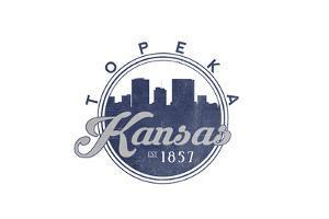 Topeka, Kansas - Skyline Seal (Blue) by Lantern Press