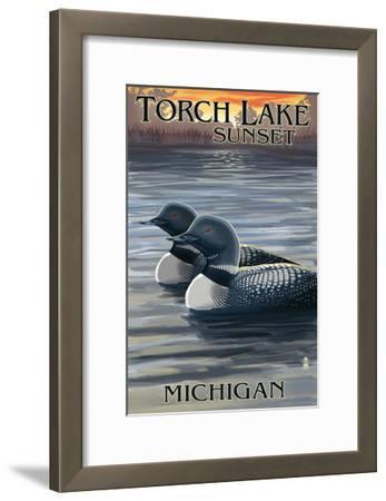 Torch Lake, Michigan - Loons at Sunset