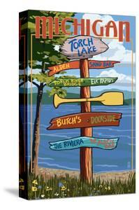 Torch Lake, Michigan - Sign Destinations by Lantern Press