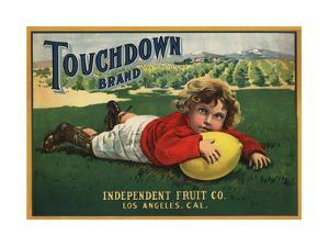 Touchdown Brand - Los Angeles, California - Citrus Crate Label by Lantern Press