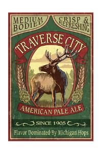Traverse City, Michigan - Elk Head Pale Ale Vintage Sign by Lantern Press