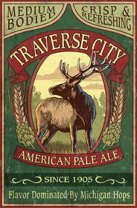 Traverse City, Michigan - Elk Head Pale Ale Vintage Sign by Lantern Press