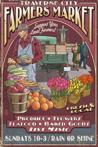 Traverse City, Michigan - Farmers Market Vintage Sign by Lantern Press