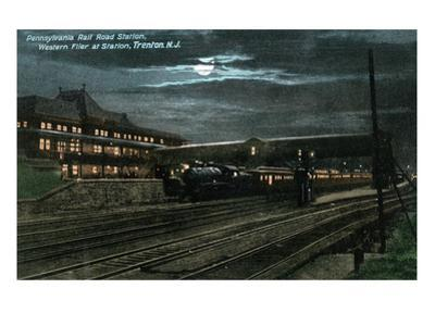 Trenton, New Jersey - Penn Railroad Station, Western Flier at Night by Lantern Press