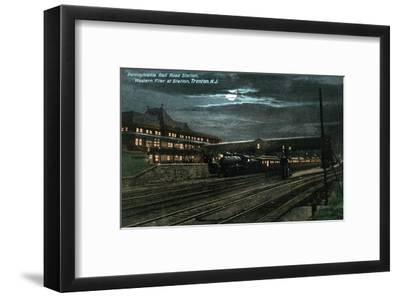 Trenton, New Jersey - Penn Railroad Station, Western Flier at Night