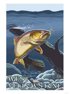 Trout Fishing Cross-Section, West Yellowstone, Montana by Lantern Press