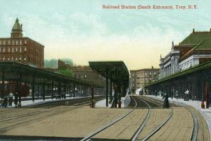 Troy, New York - South Entrance View of Railroad Station by Lantern Press