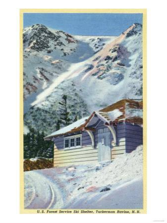 Tuckerman Ravine, NH - View of a US Forest Service Ski Shelter