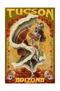 Tucson, Arizona - Day of the Dead Skeleton Dancing by Lantern Press