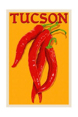 Tucson, Arizona - Red Chili - Letterpress by Lantern Press