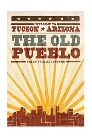 Tucson, Arizona - Skyline and Sunburst Screenprint Style by Lantern Press