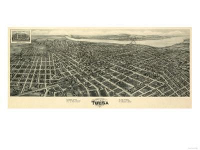 Tulsa, Oklahoma - Panoramic Map by Lantern Press