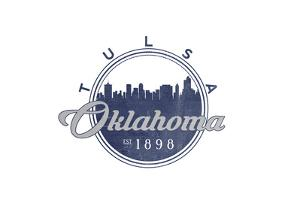 Tulsa, Oklahoma - Skyline Seal (Blue) by Lantern Press