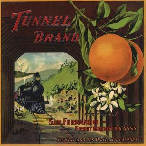 Tunnel Brand - San Fernando, California - Citrus Crate Label by Lantern Press