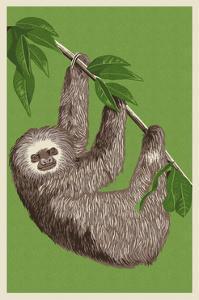 Two Toed Sloth - Letterpress by Lantern Press