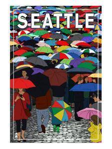 Umbrellas - Seattle, WA, c.2009 by Lantern Press