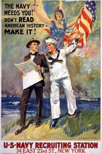 US Navy Vintage Poster - the Navy Needs You by Lantern Press