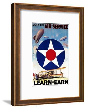 USA - Join the Air Service Learn-Earn WWI Propaganda Poster