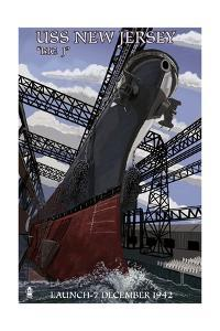 USS New Jersey - Launch by Lantern Press