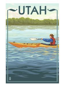 Utah - Kayak Scene by Lantern Press