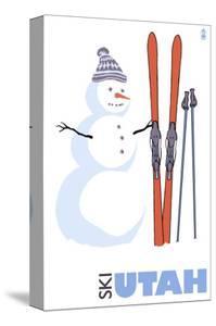 Utah, Snowman with Skis by Lantern Press