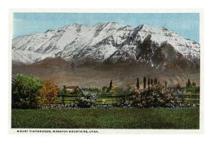 Utah - View of Mount Timpanogos in the Wasatch Mountains, c.1917 by Lantern Press