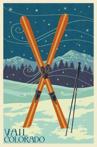 Vail, Colorado - Crossed Skis by Lantern Press
