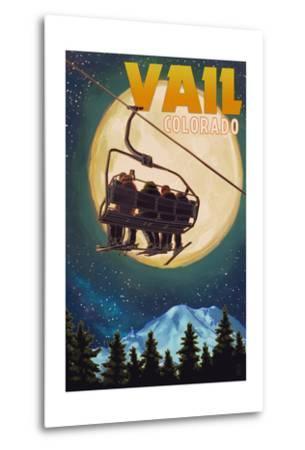 Vail, Colorado - Ski Lift and Full Moon