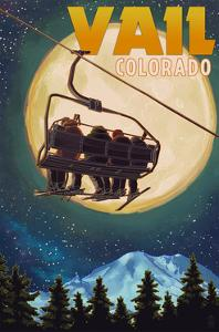 Vail, Colorado - Ski Lift and Full Moon by Lantern Press