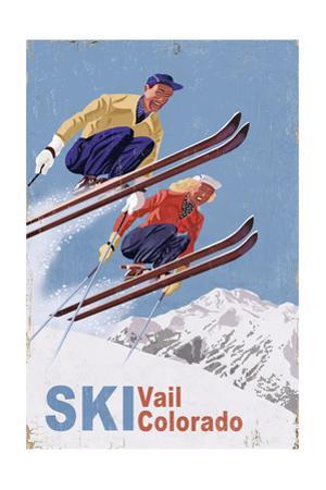 Vail, Colorado - Vintage Skiers by Lantern Press