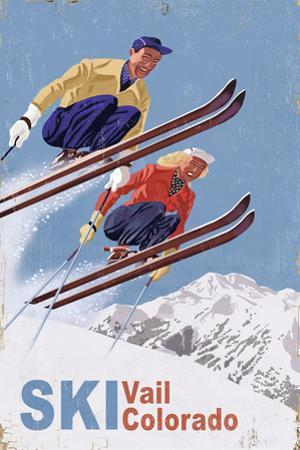 Vail, Colorado - Vintage Skiers by Lantern Press