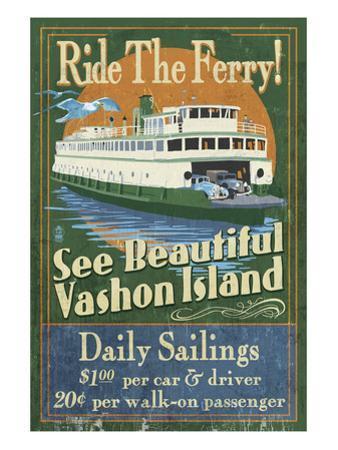 Vashon Island, Washington - Ferry Ride by Lantern Press