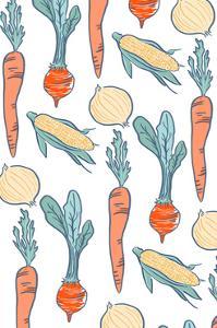 Vegetable Pattern - Letterpress by Lantern Press