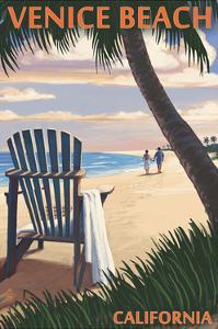 Venice Beach, California - Adirondack Chairs and Sunset by Lantern Press