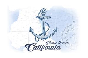 Venice Beach, California - Anchor - Blue - Coastal Icon by Lantern Press