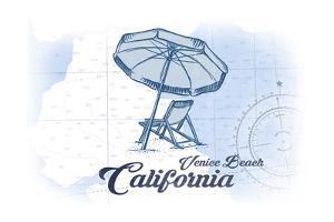 Venice Beach, California - Beach Chair and Umbrella - Blue - Coastal Icon by Lantern Press