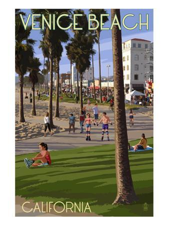 Venice Beach, California - Boardwalk Scene by Lantern Press