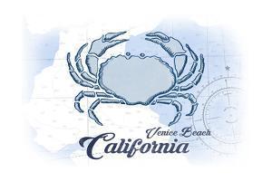 Venice Beach, California - Crab - Blue - Coastal Icon by Lantern Press
