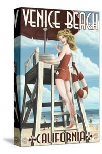 Venice Beach, California - Lifeguard Pinup by Lantern Press