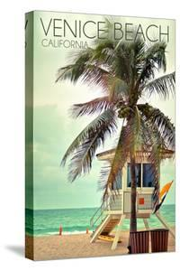 Venice Beach, California - Lifeguard Shack and Palm by Lantern Press