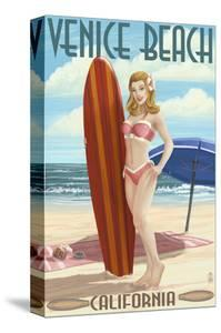 Venice Beach, California - Pinup Surfer Girl by Lantern Press