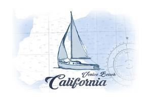 Venice Beach, California - Sailboat - Blue - Coastal Icon by Lantern Press