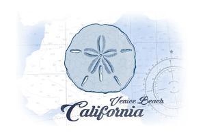 Venice Beach, California - Sand Dollar - Blue - Coastal Icon by Lantern Press