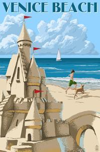 Venice Beach, California - Sandcastle by Lantern Press